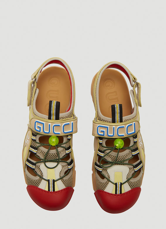 Gucci Tinsel Logo-Detailed Rubber, Leather And Mesh Sandals In Neutrals