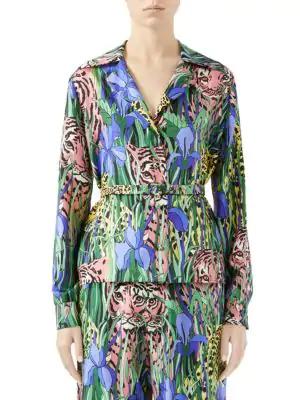6386e32ade46 Gucci Silk Shirt With Feline Garden Print In Green | ModeSens