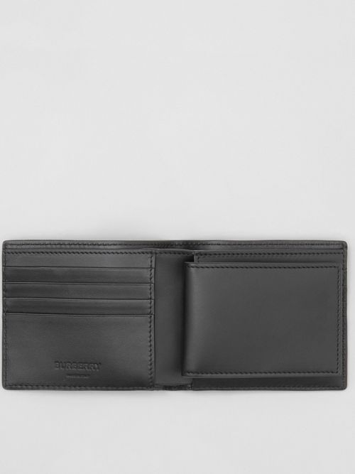 56fcb2b6bea Burberry Monogram Leather Bifold Wallet With Id Card Case In Black ...