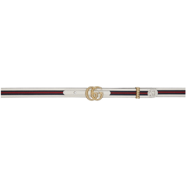 3a2b9df1e Gucci Leather Belt With Torchon Double G Buckle In 9161 White   ModeSens