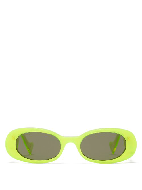Gucci Oval Pearlescent-Acetate Sunglasses In Yellow Multi