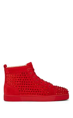 best service 63154 8d17f Louis Crystal-Spike Suede Sneakers in Red