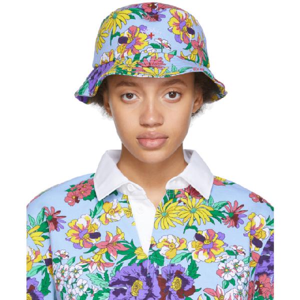 fca90734d Noah Nyc Multicolor Floral Rugby Bucket Hat in Powder Prin