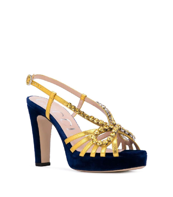 Gucci Crystal Embellished Sandals In Blue