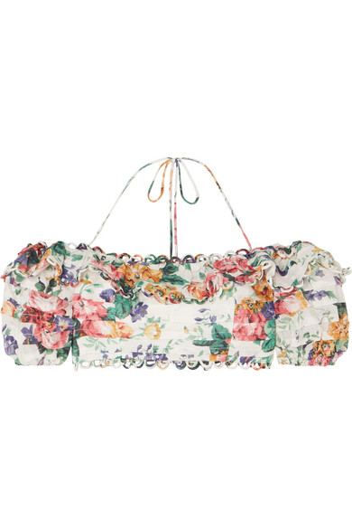Zimmermann Allia Off-The-Shoulder Floral-Print Linen Top