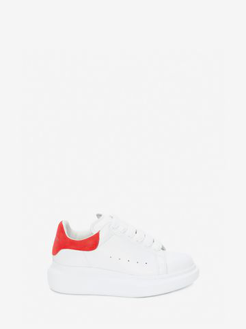 Alexander Mcqueen Runway Leather And Suede Platform Trainers In 9676 White Crimson
