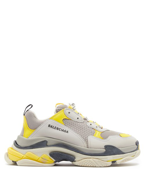 Balenciaga Triple S Grey And Yellow Mesh And Nubuck Sneakers In 7074 Yellow/Grey White