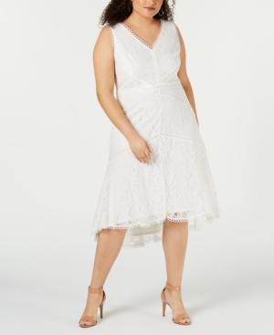 Trendy Plus Size Swiss Dot Lace Midi Dress In Ivory