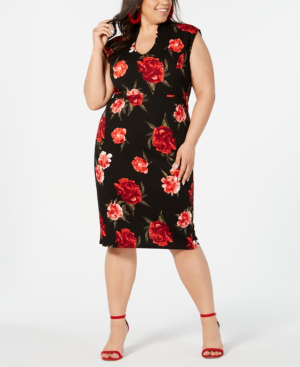 Almost Famous Juniors' Plus Size Printed Sheath Dress In Black/Red Floral