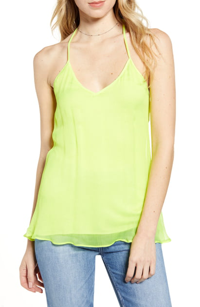 597cebc16134d7 Bailey44 Tree Frog Silk-Overlay T-Back Top In Lime | ModeSens