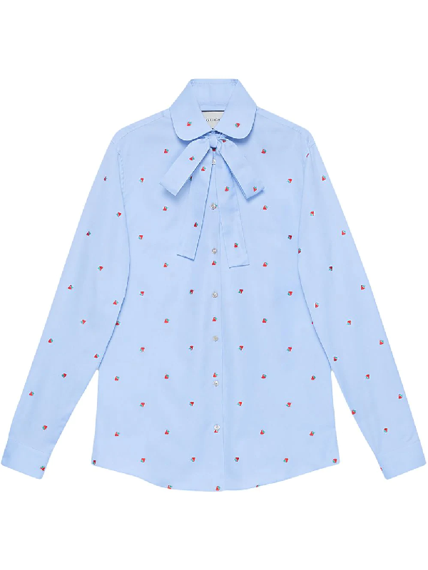 93d6fafbe Gucci Strawberry Fil Coupe Tie-Neck Blouse In Blue | ModeSens