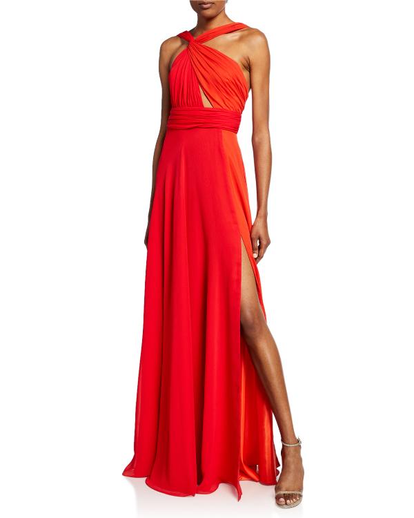 5efe4f68 Jill Jill Stuart Two-Tone Twist Neck Chiffon Evening Gown In Ladybug/ Sunset