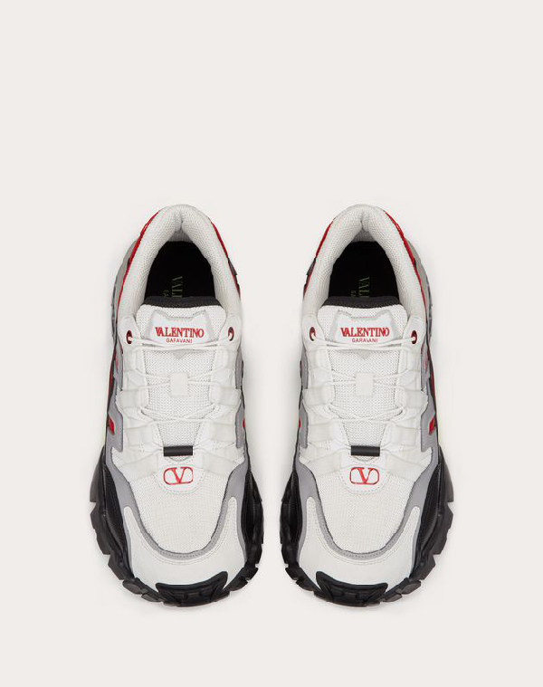 Valentino Fabric And Leather Climbers Trainer Man White Calfskin 100%, Textile Fibres 46