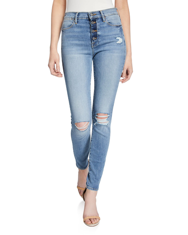 336f71faaa7 Frame Le High Distressed Button-Fly Skinny Jeans In Rooftop | ModeSens