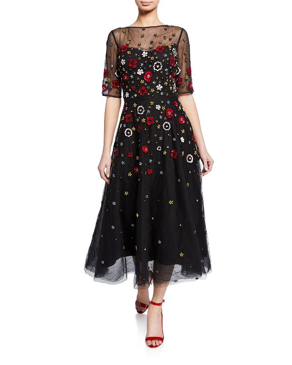 5e50397d68 Rickie Freeman For Teri Jon Beaded 3D Floral Embroidered Midi Tulle Dress  In Black