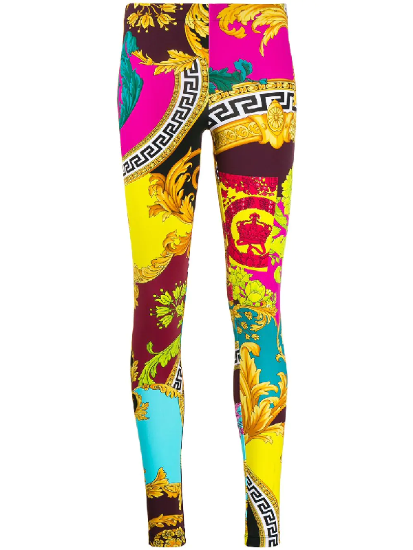 Versace Multicolor Voyage Barocco Leggings In Yellow