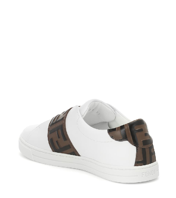 Fendi Pearland Leather Sneakers With Ff Strap In Ultra White Maya Nero