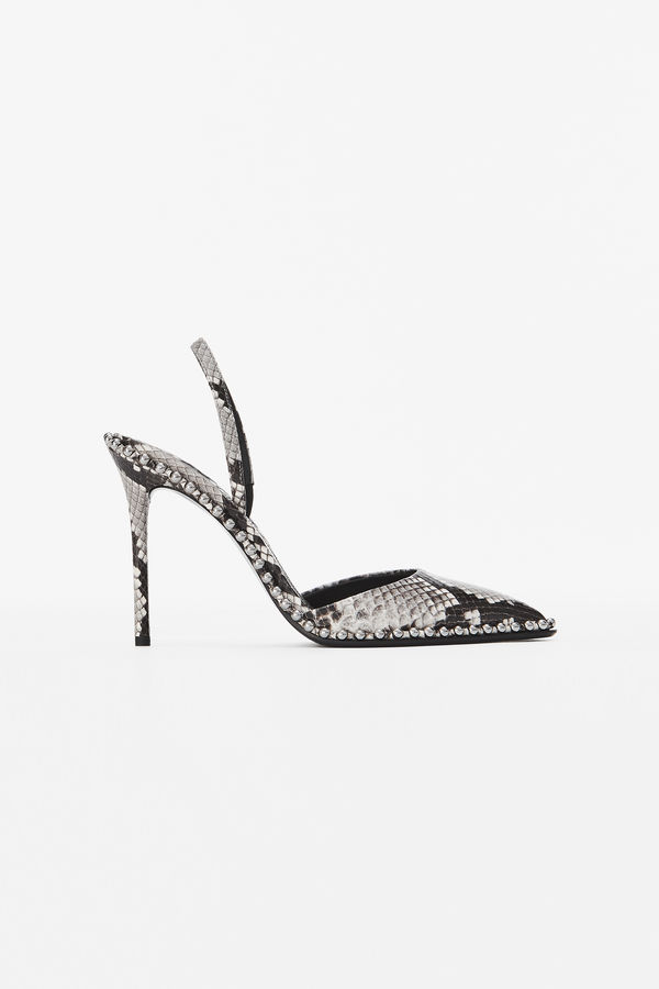 83ed6b7dbe Alexander Wang Rina Roccia Snake-Embossed Leather Point Toe Slingback Pumps  In Black And White