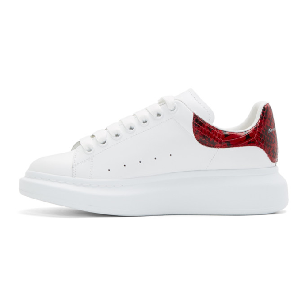 Alexander Mcqueen 'Oversized Sneaker' In Leather With Python Embossed Collar In 9093 White Red