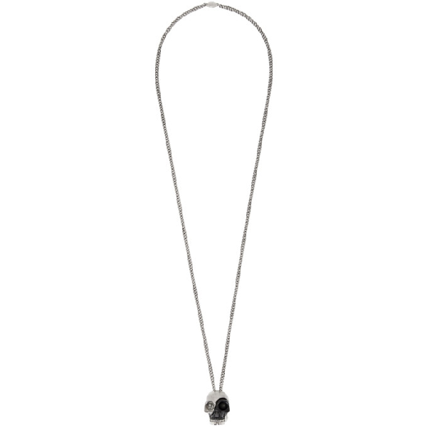 Alexander Mcqueen Black And Silver Divided Skull Necklace