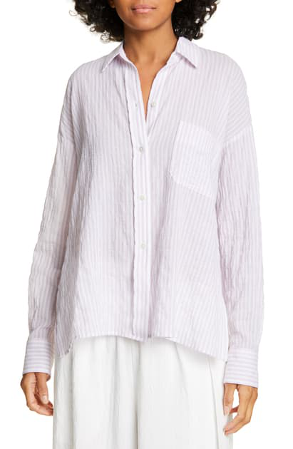 8ffac245 Vince Double Bar Stripe Button-Down Long-Sleeve Boxy Shirt In Orchid Musk