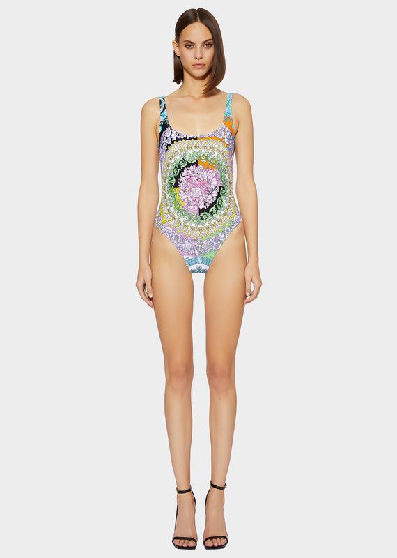 8eceb4e6420 Versace Technicolor Baroque Print One Piece Swimsuit In Multicolour ...