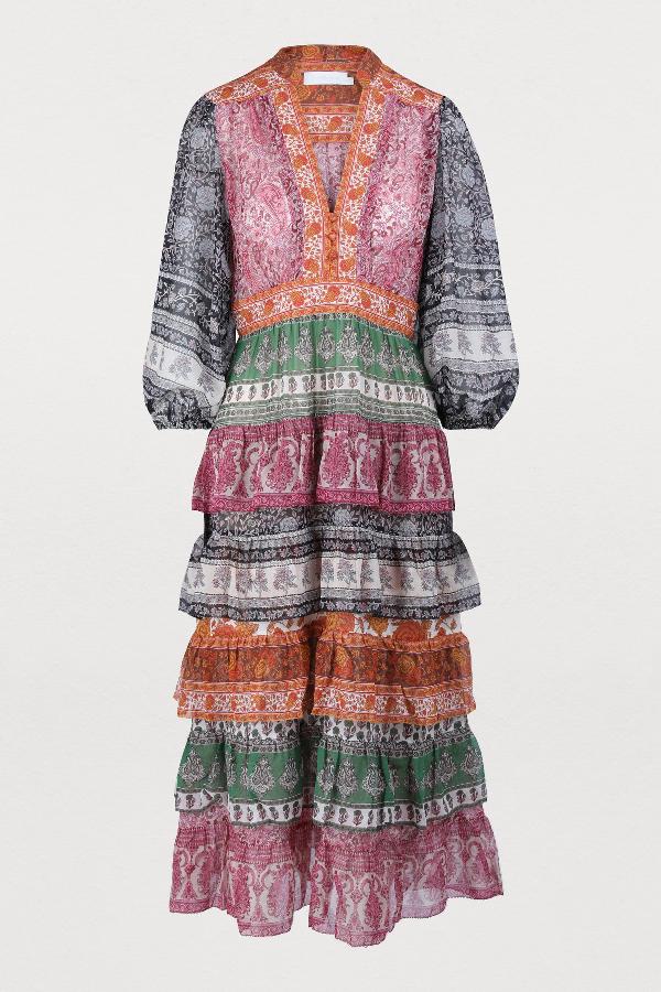 26ecc810d86946 Zimmermann Amari Printed Tiered Cotton And Silk-Blend Chiffon Dress In  Spliced
