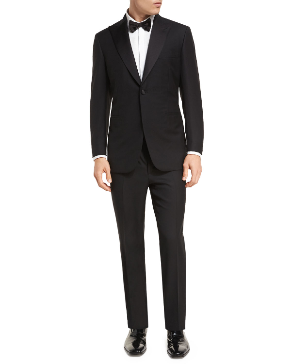 Brioni Two-Piece Wool Tuxedo Suit In Black
