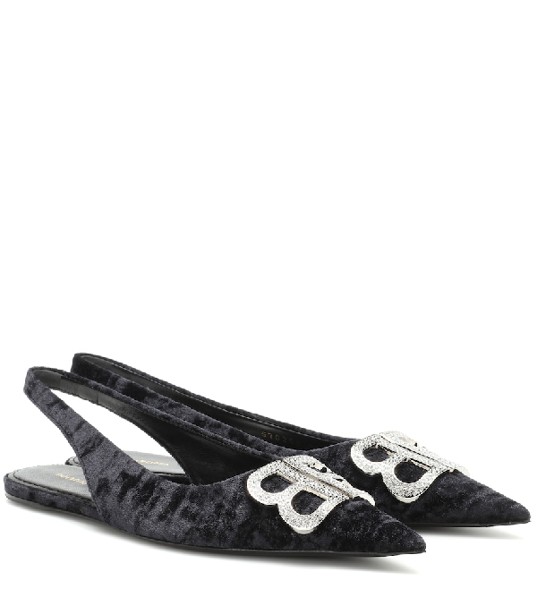 73e1e05631 Balenciaga Knife Logo-Embellished Crushed-Velvet Point-Toe Flats In 1073  Black