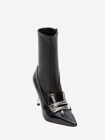 Alexander Mcqueen Cowboy-/ Biker Ankle Boots Watson Calfskin Logo Metallic Black