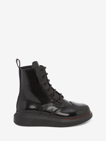 Alexander Mcqueen Leather Exaggerated-Sole Ankle Boots In Black