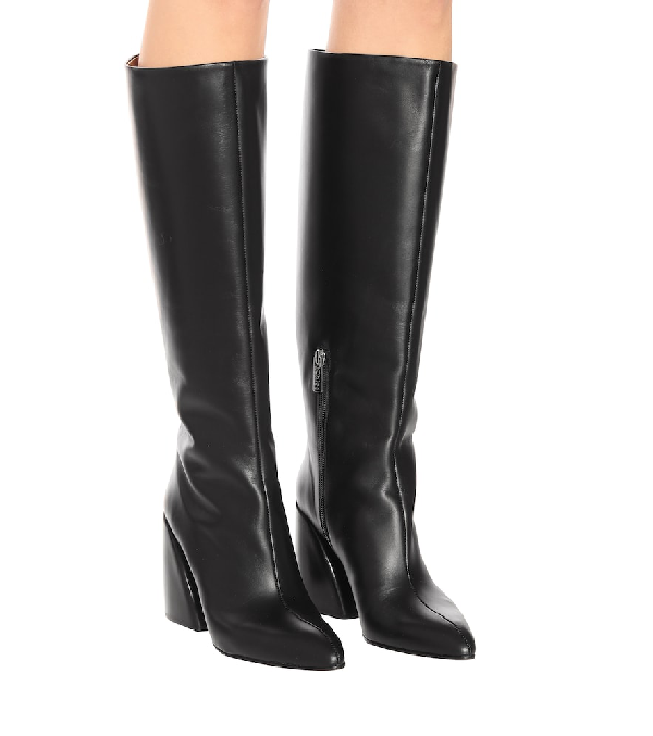 fa55e1d0 Women's Wave Leather Block-Heel Boots in Black