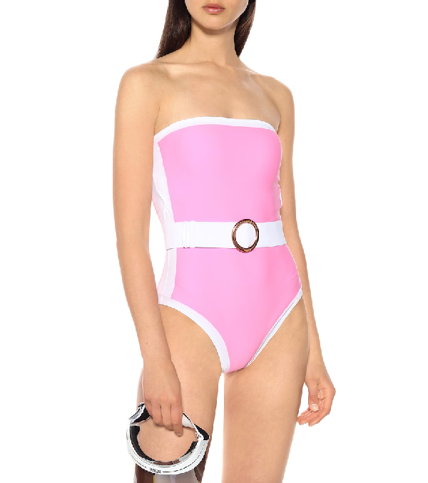 Alexandra Miro Whitney Belted One-Piece Swimsuit In Pink