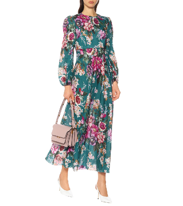 Zimmermann Allia Floral-Print Linen Maxi Dress In Emerald