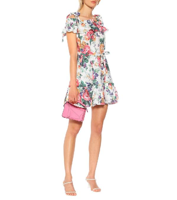 Zimmermann Allia Ruffled Floral-Print Linen Dress In Green