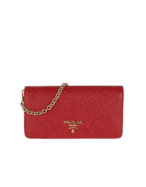 5b0cd15891f3 Prada Logo Wallet On Chain Saffiano Leather Fuoco In Red | ModeSens