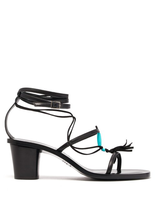 ÁLvaro GonzÁLez ÁLvaro - X Kim Hersov Kiowa Beaded Leather Sandals - Womens - Black Blue