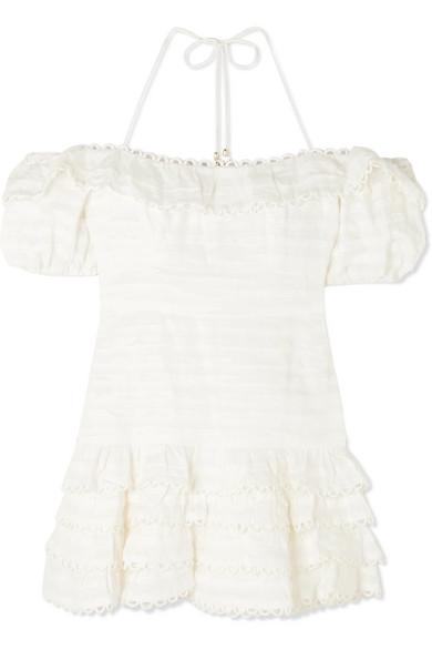 ZIMMERMANN Allia cold-shoulder ruffled linen mini dress