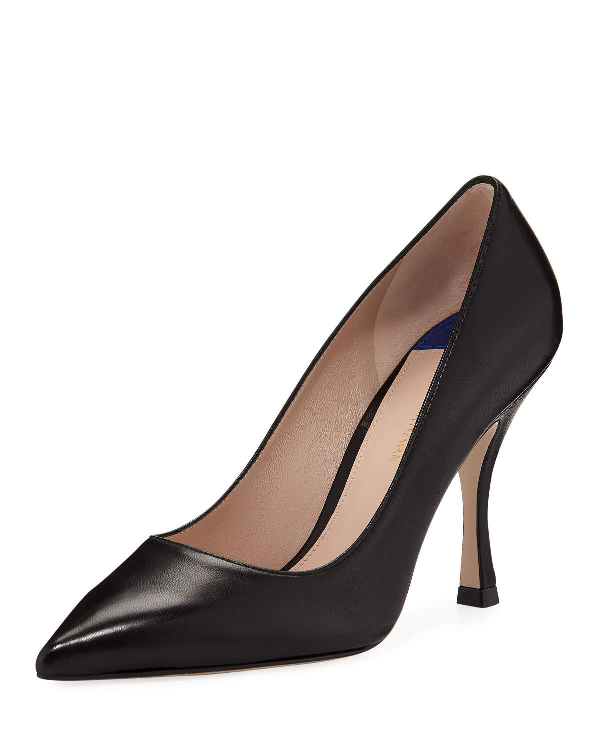 bda4c059ab Stuart Weitzman Women's Tippi 95 Pointed Toe Leather High-Heel Pumps In  Black