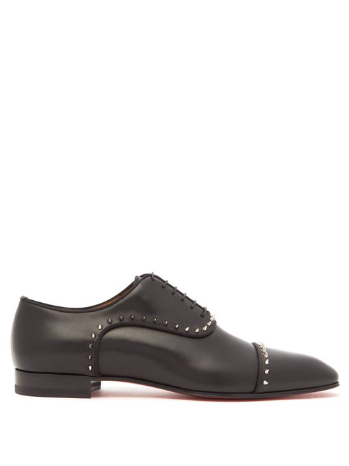 Christian Louboutin Eton Studded Leather Bluchers In Black