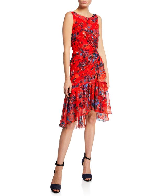 5ecda6c6a326c Marchesa Notte Burnout Floral-Print Sleeveless Chiffon Dress W/ Cascading  Side Ruffle In Coral