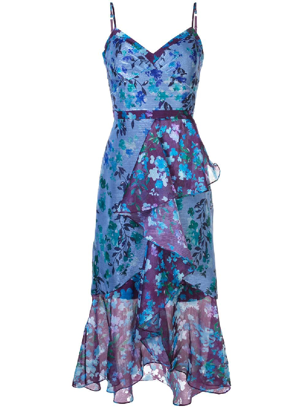 7bd4bb5f Marchesa Notte Sleeveless Colorblock High Low Gown In Blue   ModeSens