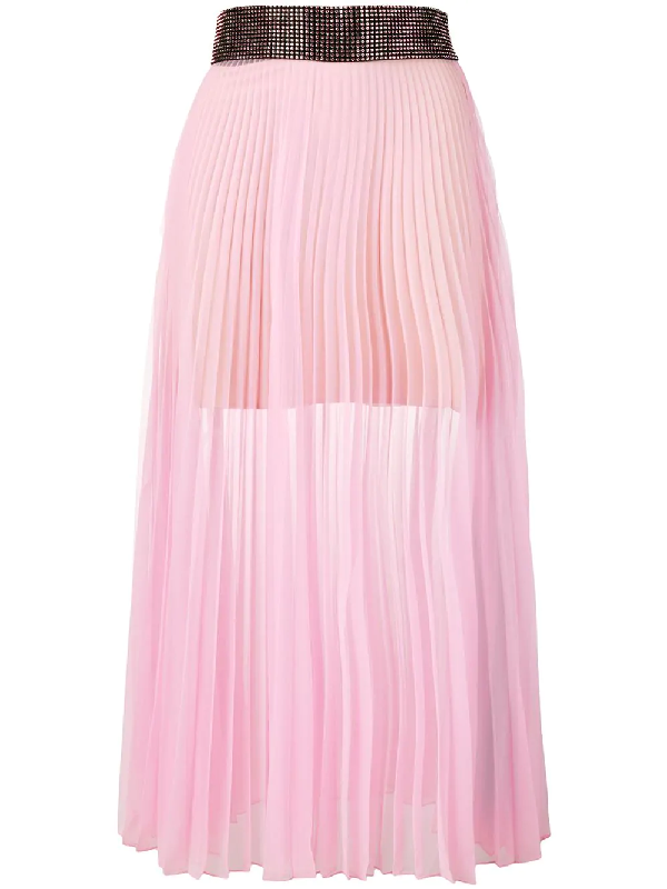 25a01f53bf Christopher Kane Crystal Mesh Pleated Skirt - Pink | ModeSens