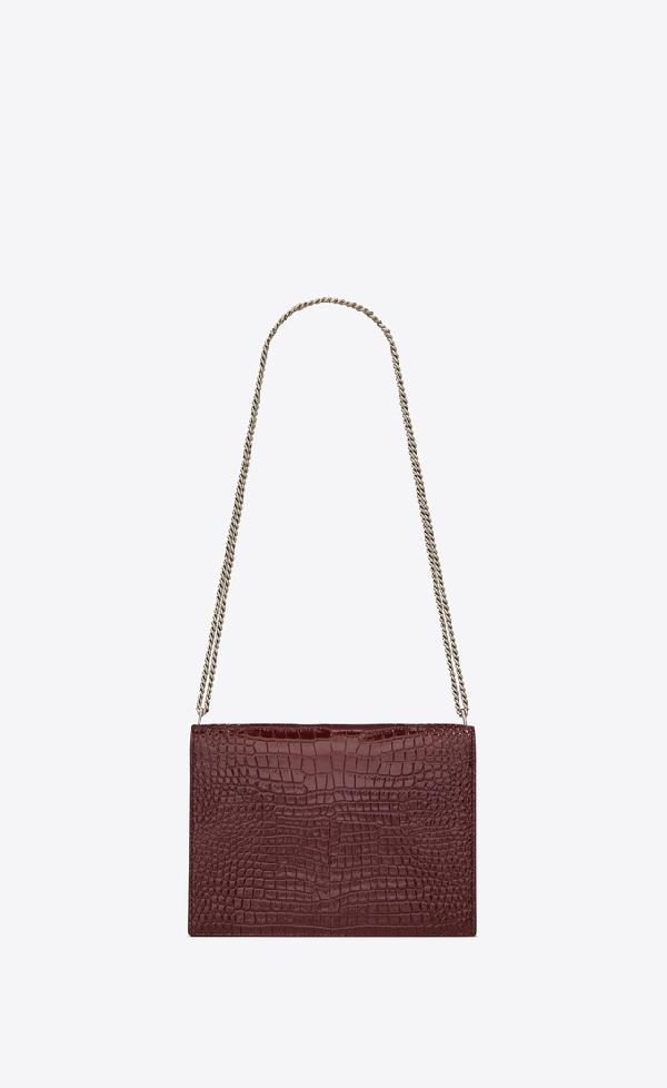 46832ba754f Saint Laurent Cassandra Monogram Clasp Bag In Crocodile Embossed Shiny  Leather In Burgundy