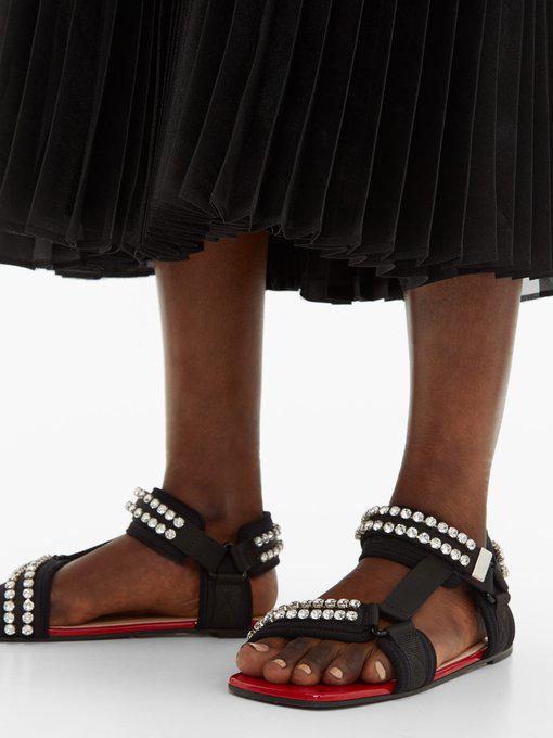 Gucci Crystal-Embellished Sandals In Black