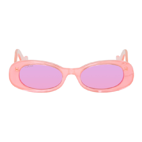 Gucci Pink Oval Sunglasses In Pink-Pink