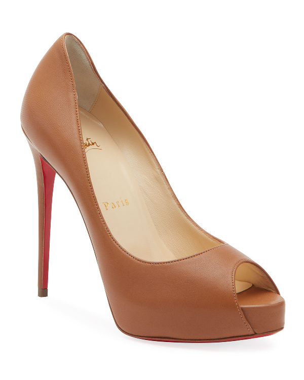 01875289859 New Very Prive Patent Red Sole Pumps in Camel