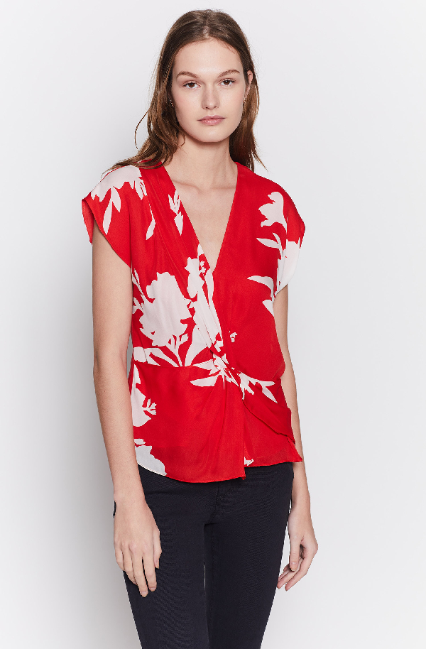 Joie Bosko Silk Print Twist-Front Blouse In Tropic Red