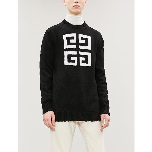 Givenchy 4G Intarsia Logo Cotton Knit Sweater In 004 Black & White