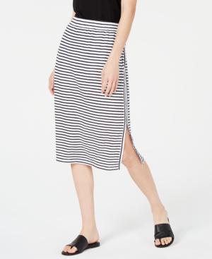 f480959fe Eileen Fisher Petite Striped Organic Linen Jersey Drawstring Skirt In White/Black.  macy's